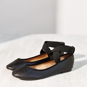 Urban Outfitters Black Cross Ankle Strap Flats